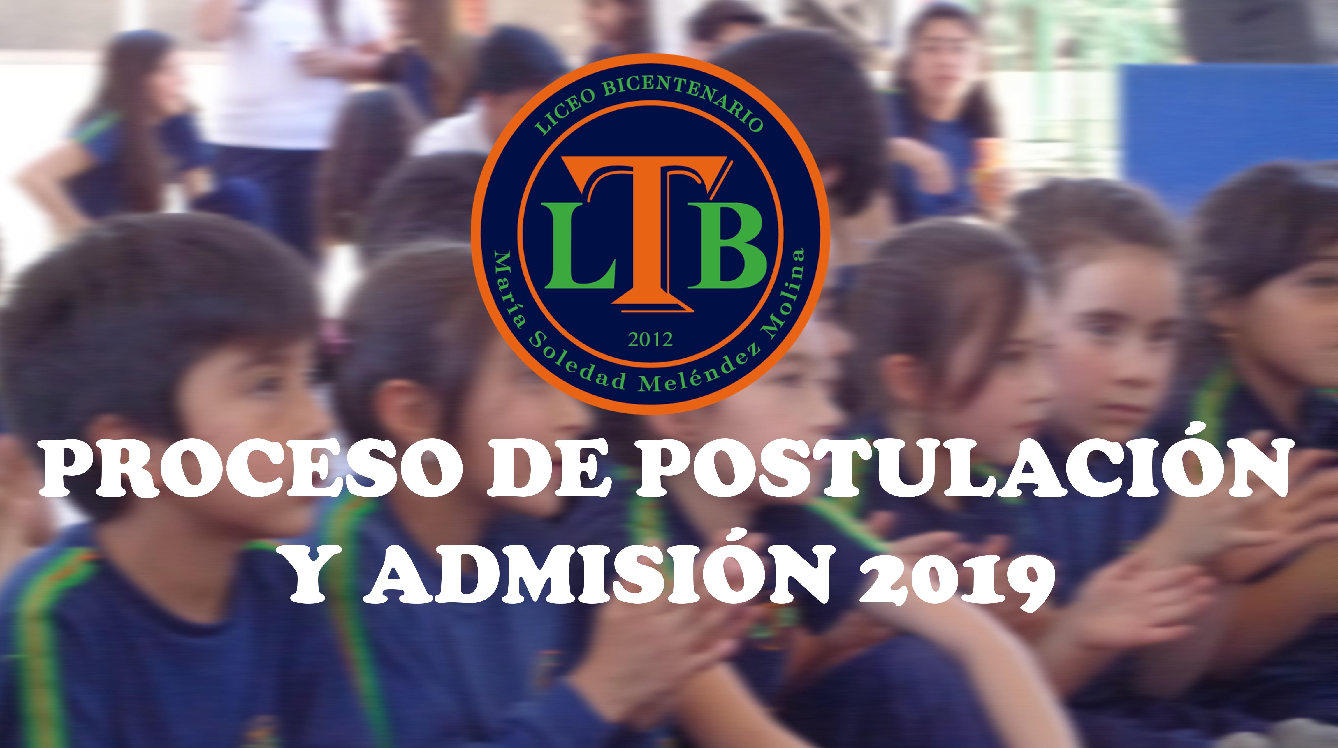 PROCESO DE POSTULACIÓN Y ADMISIÓN 2019
