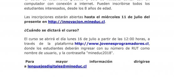 INVITACIÓN CURSO DIGITAL MINEDUC PARA ESTUDIANTES – ENLACES