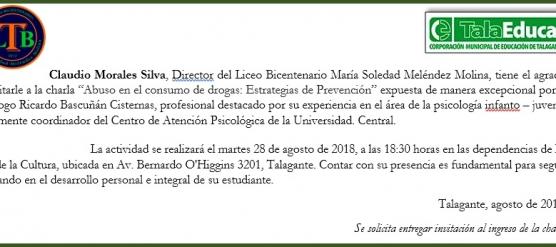 """INVITACIÓN A CHARLA """"ABUSO EN EL CONSUMO DE DROGAS: ESTRATEGIAS DE PREVENCIÓN"""""""
