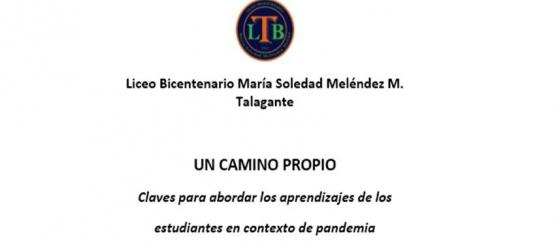UN CAMINO PROPIO CLAVES PARA ABORDAR LOS APRENDIZAJES DE LOS  ESTUDIANTES EN CONTEXTO DE PANDEMIA